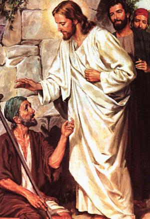 Jesus healing beggar
