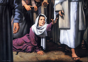 Jesus heals a bleeding woman